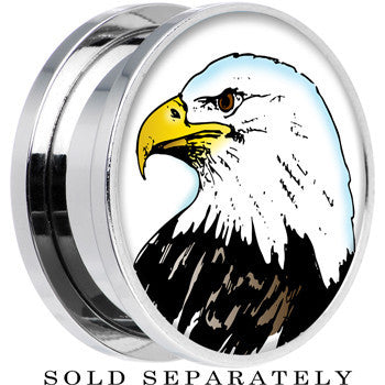 Proud Bald Eagle Screw Fit Plug in Stainless Steel