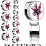 Pink Lily Flower Screw Fit Plug in Stainless Steel