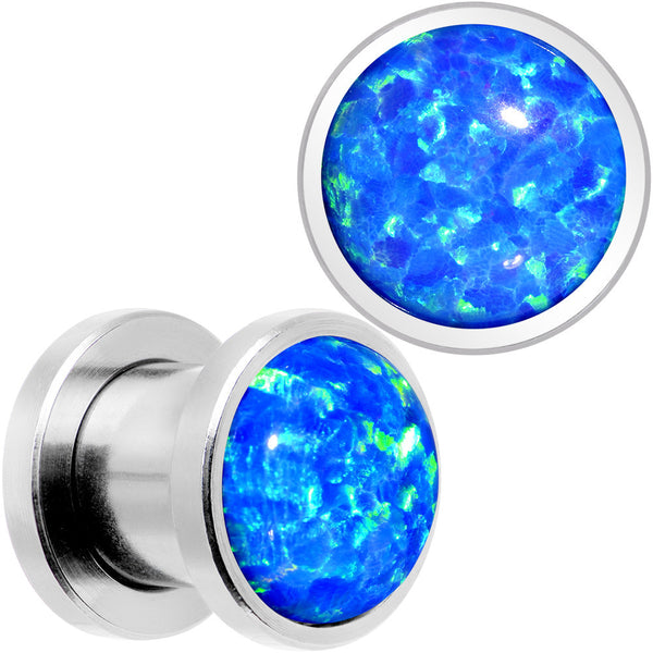 Aqua Synthetic Opal Stainless Steel Screw Fit Plug Set