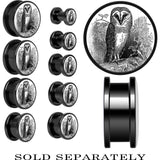 Anodized Black Titanium Black and White Owl Screw Fit Plug