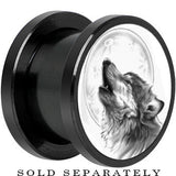 Anodized Black Titanium Howling Wolf Screw Fit Plug