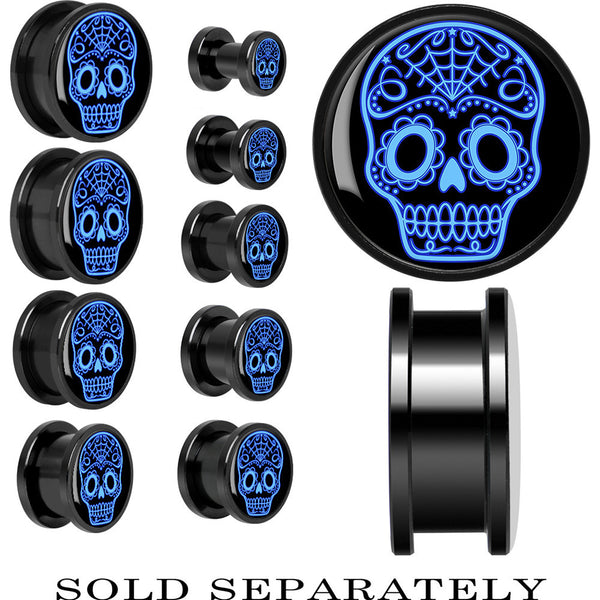 Anodized Black Titanium Blue Sugar Skull Screw Fit Plug