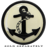 Nautical Anchor Glow in the Dark Screw Fit Plug in Anodized Black Titainum