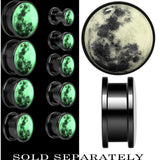 Moon Glow in the Dark Screw Fit Plug in Anodized Black Titainum