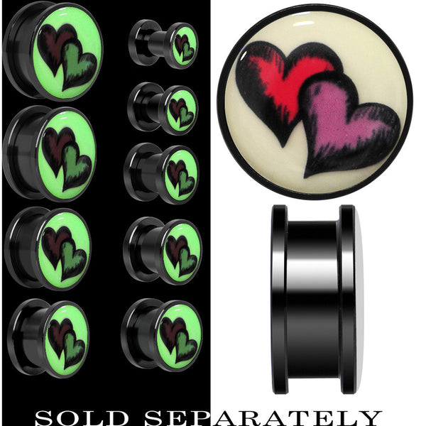 Red Purple Heart Glow in the Dark Screw Fit Plug in Anodized Black Titainum