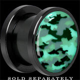 Pink Camouflage Glow in the Dark Screw Fit Plug in Anodized Black Titainum