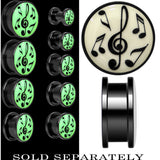 Music Notes Glow in the Dark Screw Fit Plug in Black Anodized Titanium