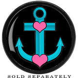 Black Tattoo Inspired Titanium Turquoise Nautical Love Anchor Screw Fit Plug