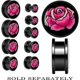 Black Tattoo Inspired Titanium Pink Blooming Rose Screw Fit Plug