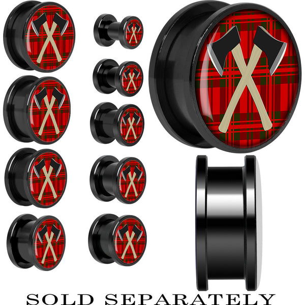 Cross of Axes Screw Fit Plug in Black Anodized Titanium