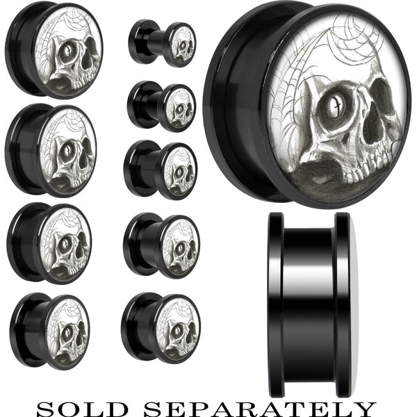 Webbed Skull Screw Fit Plug in Black Anodized Titanium