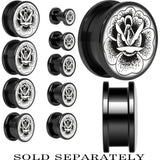 Arty Stippled Rose Flower Screw Fit Plug in Black Titanium