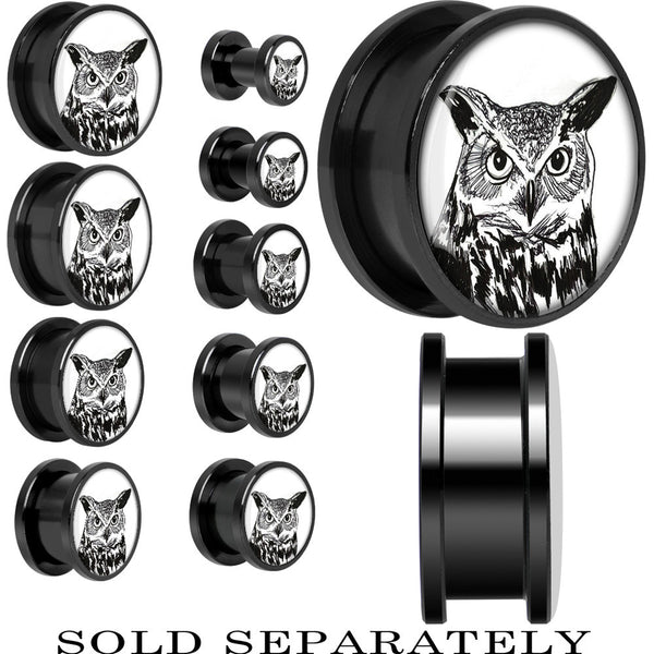 Arty Horned Owl Screw Fit Plug in Black Titanium