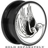 Arty Flying Bird Screw Fit Plug in Black Titanium