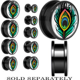 Green Peacock Plume Screw Fit Plug in Black Anodized Titanium