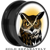 Brown Horned Owl Screw Fit Plug in Black Anodized Titanium
