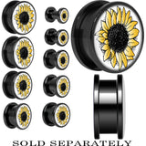 Yellow Sunflower Screw Fit Plug in Black Anodized Titanium