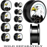 Proud Bald Eagle Screw Fit Plug in Black Anodized Titanium