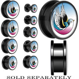Blue Pink Flying Bird Screw Fit Plug in Black Anodized Titanium