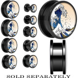 Foamy Crashing Waves Screw Fit Plug in Black Anodized Titanium