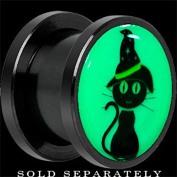 Halloween Cat Glow in the Dark Screw Fit Plug in Anodized Black Titanium