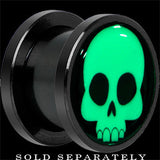 Comic Skull Glow in the Dark Screw Fit Plug in Anodized Black Titanium