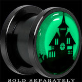 Haunted House Glow in the Dark Screw Fit Plug in Anodized Black Titanium