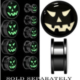 Grinning Jack O' Lantern Glow in the Dark Screw Fit Plug in Anodized Black Titanium