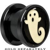 Spooky Ghost Glow in the Dark Screw Fit Plug in Anodized Black Titanium
