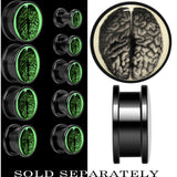 Dissected Brain Glow in the Dark Screw Fit Plug in Anodized Black Titanium