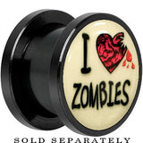 I Heart Zombies Glow in the Dark Screw Fit Plug in Anodized Black Titanium