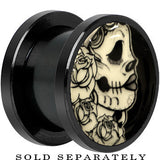Katrina Sugar Skull Glow in the Dark Screw Fit Plug in Anodized Black Titanium