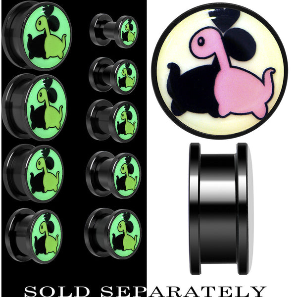 Loving Dinosaurs Glow in the Dark Screw Fit Plug in Anodized Black Titanium