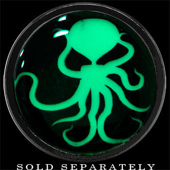 Ominous Octopus Glow in the Dark Screw Fit Plug in Anodized Black Titanium