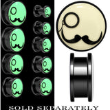 Monocle Mustache Glow in the Dark Screw Fit Plug in Anodized Black Titanium