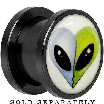 Glow in the Dark Alien Heads Kissing Black Titanium Screw Fit Plug