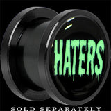 Haters Black Glow in the Dark Screw Fit Plug in Anodized Titanium