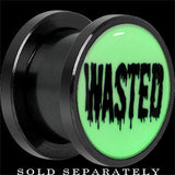 Wasted White Glow in the Dark Screw Fit Plug in Anodized Titanium