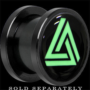 Infinity Triangle Glow in the Dark Screw Fit Plug in Black Titanium