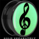 Treble Clef Peace Glow in the Dark Screw Fit Plug in Titanium