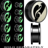 Loving Treble Clef Glow in the Dark Screw Fit Plug in Titanium