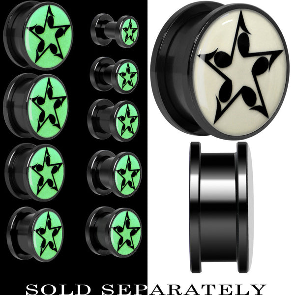 Eighth Note Star Glow in the Dark Screw Fit Plug in Titanium