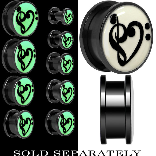 Bass Treble Clef Heart Glow in the Dark Screw Fit Plug in Titanium
