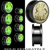 Fearsome Fangs Glow in the Dark Screw Fit Plug in Titanium