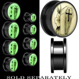 Coffin and Flower Glow in the Dark Screw Fit Plug in Titanium