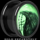 Raven and Cross Glow in the Dark Screw Fit Plug in Titanium