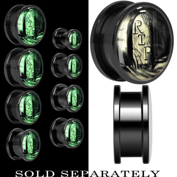 RIP Tombstone Glow in the Dark Screw Fit Plug in Titanium