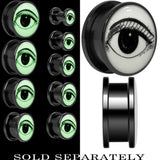 Arty Open Eye Glow in the Dark Screw Fit Plug in Black Titanium