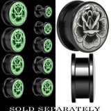 Arty Stippled Rose Flower Glow in the Dark Screw Fit Plug in Black Titanium