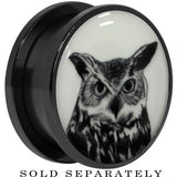 Arty Horned Owl Glow in the Dark Screw Fit Plug in Black Titanium